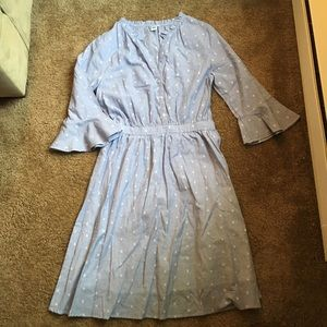 Baby blue bell sleeve dress